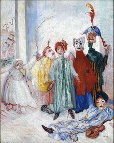 James Ensor ~ Merkwaardige maskers ~ 1892 ~ Olieverf op doek ~ 100 x 80 cm. ~ Koninklijke Musea voor de Schone Kunsten, Brussel
