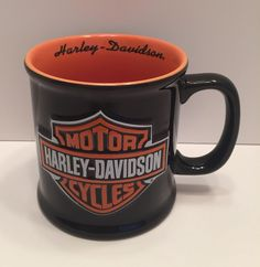 2000 Orange Black HD Harley Davidson Shield Motorcycles BIG Mug Coffee Cup
