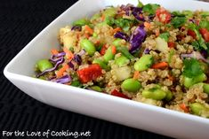 Asian quinoa salad!  All I need to do is use gluten free soy sauce and eliminate peppers and green onion!