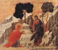 Duccio di Buoninsegna, Le Christ apparaît à Marie-Madeleine, Museo dell'Opera del Duomo, Sienne. Noli me tangere – ne me touche pas – telles sont, rapportées par l'évangile selon Jean (chapitre 20, 11-18), les paroles que Jésus prononce face à Marie-Madeleine, le jour de sa résurrection. La femme veut s'approcher et toucher celui en qui elle vient de reconnaître son Maître – rabbouni – et qu'elle cherchait d'abord en vain, tristement, près du tombeau vide.