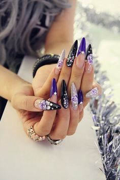 Purple, black, and glitter mix stilettos with 3D flowers #trythisnail