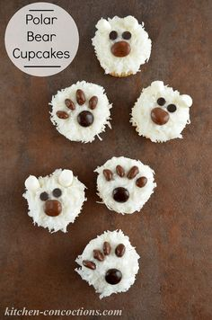 Super Easy Polar Bear Paw Print Cupcakes - perfect for a pre-holiday celebration and holiday treat to share with family. Photo via @KitConcoctions. Join live #NorthpoleFun party Sat Dec 13, 2014 at 12pm ET. #ad
