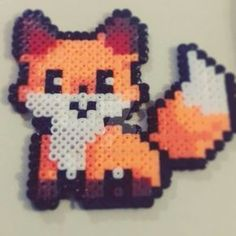 by July-MonMon on DeviantArt - Kawaii fox Hama Beads ver. by July-MonMon.devia… on - Perler Bead Designs, Perler Bead Templates, Hama Beads Design, Diy Perler Beads, Perler Bead Art, Hama Beads Coasters, Pearler Beads, Melty Bead Patterns, Hama Beads Patterns