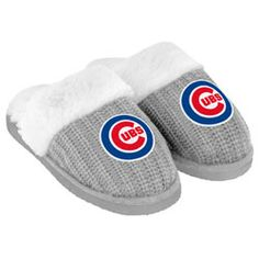 Chicago Cubs Women's Grey Knit Slide Slipper $24.99 http://www.fansedge.com/Chicago-Cubs-Womens-Grey-Knit-Slide-Slipper-_2048923331_PD.html?social=pinterest_pfid22-49584