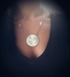 Hand Painted Full Moon Necklace Glow In The by VioletMoonchildArts