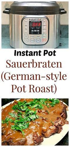 What could be a more comforting fall dish than Instant Pot: Sauerbraten (German-style Pot Roast)? The roast is marinated in a combination of cider and red vinegar, along with water and a few spices. The thick, rich gravy is to die for! #recipe #instantpot