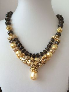 Coliere, margele lucrate manual.  Masters Corecte - manual.  Cumpara colier de perle cu rauchtopaz Eclipse vândut.  Handmade.  Cravată