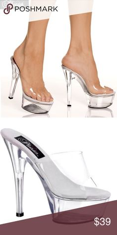 """LIKE NEW! PLEASER KISS-201 Clear Platform Heels 🚫NO TRADES🚫PRICE IS FIRM✅KISS-201 by Pleaser is a sexy clear slide mule that will compliment any outfit.All measurements are approximate and were taken using a size 7. Style: Mules Sub Style: Platform Wedges Heel Height: 6"""" Heel Platform: Approximately 1.75"""" Color: Clear Occasion: Casual / Sexy Naughty Material: Synthetic Upper Man Made. LIKE NEW! Original box not available. Pleaser Shoes Heels"""