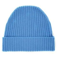 Orwell + Austen Cashmere - Cashmere Beanie in Light Blue ($89) ❤ liked on Polyvore featuring accessories, hats, beanie hats, ribbed beanie hat, cashmere beanie, long beanie hats and cashmere hat
