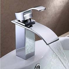 Bathroom Waterfall Sink Faucet Chrome Finish Brass One Hole Mixer Tap #bestfaucet