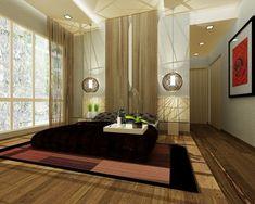 idee chambre zen aux grands luminaires en forme de boules