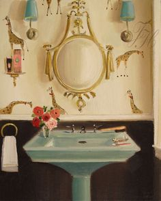 Janet Hill oil painting of powder room with giraffe wallpaper Janet Hill, Illustrations, Illustration Art, Installation Architecture, Giraffe Art, Giraffe Painting, Cool House Designs, Home Interior, Bathroom Interior