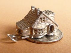 CHIM Opening Vintage sterling silver charm Old house chalet opens charm Bracelet Pendant