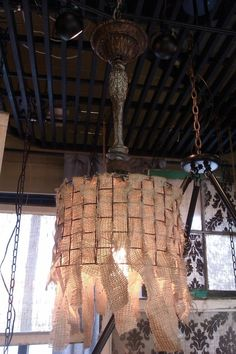 1-light Industrial CHANDELIER/ PENDANT with Burlap drum  shade and Vintage lighting parts. $219.00, via Etsy.
