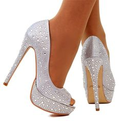Silver Multi Glitter Faux Leather Platform Pump Heels