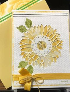 Sunflower Cards, Fun Fold Cards, Beautiful Handmade Cards, Stamping Up Cards, Cards For Friends, Scrapbook Cards, Scrapbooking, Fall Cards, Homemade Cards