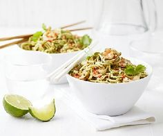 Thai pesto shrimp noodles - healthy, gluten-free & low FODMAP