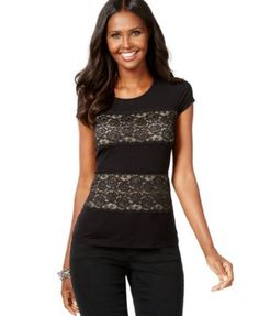 INC International Concepts Lace-Trim T-Shirt, Only at Macy's