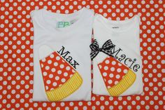 Personalized Applique Fall Candy Corn Long/Short by slmeccage, $22.00