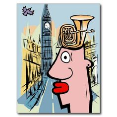 Tuba Head In London Post Cards