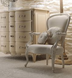 Elegant Italian Ivory Designer Armchair