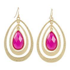 Fuchsia Hooped Drop Pendant Earrings VLUXE0166FU $20 http://www.laylagrayce.com/c/Womens-Jewelry/Shop-all-Jewelry.aspx?sortorder=6&pages=all