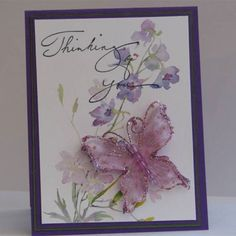 thinking of you vy by Vickie Y - Cards and Paper Crafts at Splitcoaststampers Scrapbook Paper Crafts, Scrapbook Cards, Scrapbooking Ideas, Paper Crafting, Butterfly Cards, Flower Cards, Card Making Inspiration, Making Ideas, Greeting & Note Cards