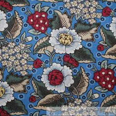 BonEful Fabric FQ Cotton Quilt Blue White Red Country Flower Garden Shabby Chic #Unbranded