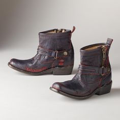 PENUMBRA BOOTS -- Unique leather boots with serious attitude. One-of-a-kind, serrated leather shows glimpses of red through midnight blue. Snap buckles at ankle and side zips. Leather lined. Whole and half sizes 6 to heel. Cowgirl Chic, Cowgirl Boots, Western Boots, Cowboy Hats, Lace Up Boots, Leather Boots, Brogues, Summer Shoes, Knee High Boots