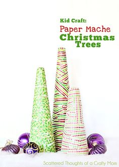 Paper Mache Christmas Trees | Use strips of Crayola paper to make colorful holiday kid crafts.