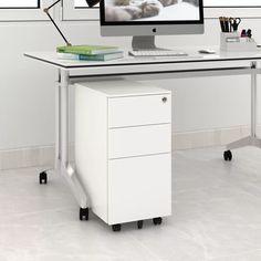 Ebern Designs Stansel PB Mini Steel File 3-Drawer Mobile Vertical Filling Cabinet   Wayfair 3 Drawer File Cabinet, 3 Drawer Storage, Mobile File Cabinet, Drawer Unit, Steel File, Cheap Couch, Hanging File Folders, Hanging Files, Large Drawers