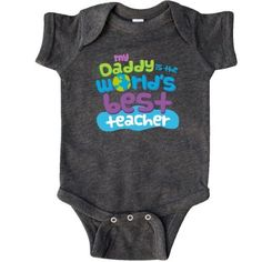 Inktastic Daddy Worlds Best Teacher Infant Creeper Baby Bodysuit Greatest Dad Childs Childrens Cute Gift Fathers Day One-piece Hws, Boy's, Size: 24 Months, Black