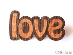 OOAK Wood Inlay  Love Brooch  Marquetry  Jewelry Design by CMGArte, €26.00