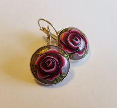 Dark Red Rose Earrings, Bordeaux roses earrings, romantic roses earrings, vintage earrings, elegant earrings, Easter gift, Valentine gift,