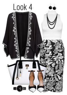 Plus Style: Kimono #4 by styledbydoseofvitaminf on Polyvore featuring polyvore, fashion, style, WearAll, Yoek, Givenchy, Black Rivet, Nixon, Bling Jewelry and Karen Kane