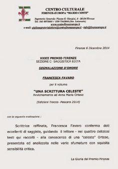 XXXII Premio Firenze: segnalazione d'onore per Francesca Favaro