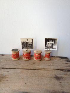 Vintage Sewing Spool Photo Holders by raemj on Etsy, $14.00