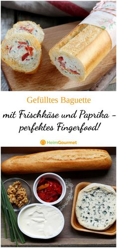 Recipe for stuffed baguette with cream cheese and paprika - perfect finger food! Recipe for stuffed baguette with cream cheese and paprika – perfect finger food! Party Finger Foods, Snacks Für Party, Finger Food Appetizers, Appetizers For Party, Appetizer Recipes, Baguette Relleno, Yummy Snacks, Healthy Snacks, Stuffed Baguette