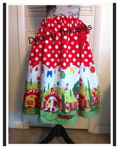 Ribbon Skirt machine sewing and embroidery. One size fits most pattern. Gnomes and mushrooms fabric.
