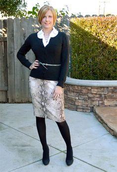 Python print pencil skirt + black #outfit