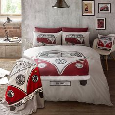 Campervan Gift Ltd - Volkswagen Red Campervan On Tour Duvet and Pillow Case Set, £19.95 (https://www.campervangift.co.uk/volkswagen-red-campervan-on-tour-duvet-and-pillow-case-set/)