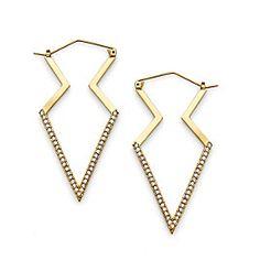 Pave Modern Arrowhead Hoop Earrings