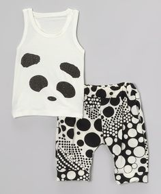 Take a look at the Black & White Panda Tank & Harem Pants - Infant, Toddler & Girls on #zulily today!