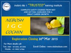 Trained professionals are the most preferred for safety jobs. NEBOSH IGC in Cochin is preferred by most of the safety professionals in Kerala to reach greater positions in their career and discover world job opportunities. The closing date for registration for NEBOSH IGC's next batch is 30th March, so make your enrollment as soon as possible.  NIST INSTITUTE PRIVATE LIMITED, IV/283 H, 2nd Floor, Chakkappan Square, Parutheli Palam Junction, Pukkattupady Road, Edappally Toll, Cochin