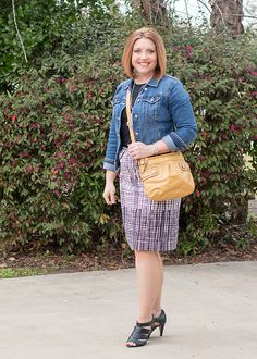 Savvy Southern Chic: Grid and denim- wear a denim jacket with a print pencil skirt