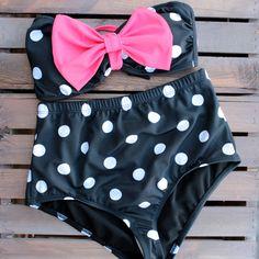 high waisted pin up polka dot pink bow bikini
