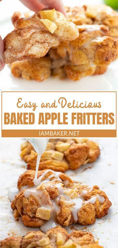 Baked Apple Fritters Delish baked apple fritters that are so quick and easy to make! This delicious recipe is made with just a few ingredients you may already have in your pantry. Make this for breakfast, snacks, or dessert! Quick Apple Dessert, Healthy Apple Desserts, Apple Dessert Recipes, Quick Easy Desserts, Donut Recipes, Quick Desert Recipes, Desserts With Apples, Healthy Snacks, Apple Fritter Recipes