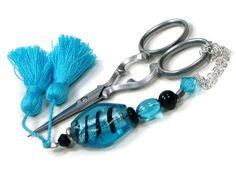 Scissor FobScissor Keeper Scissor Minder Aqua Blue by TJBdesigns Knitting Supplies, People Shopping, Spring 2015, Aqua Blue, Shades Of Blue, Scissors, Handcrafted Jewelry, Needlepoint, Baby Gifts