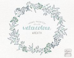Watercolor wreath: PNG floral wreath clipart / flower wreath wedding invitation clip art / commercial use / Green branches leaves / CM0076a