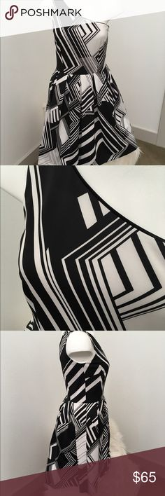 Joseph Ribkoff  One Shoulder Dress. Size 8 Canadian Designer Joseph Ribkoff does it again with this beauty! Lines, durable and so stunning with one shoulder and geometric design. Joseph Ribkoff Dresses Midi